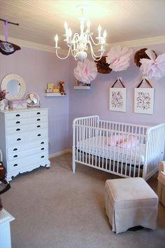 adorable lavender, brown & white nursery! love the crib.