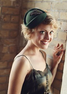 Darling hat, but would wear it one one side and slightly tilted down over forehead.... (aw)  green pillbox #millinery #judithm #hats