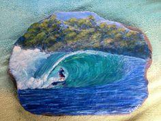 Big tropical wave, acrylic on slate Painted Rocks, Slate, Tropical, Waves, Paintings, Big, Outdoor, Outdoors, Chalkboard