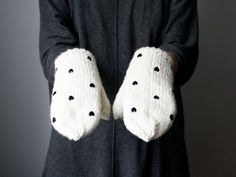 25% WINTER SALE/ handmade cute white ivory wool color by AIYshop