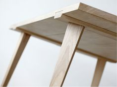 This simple and clever table by Copenhagen based designer Julian Kyhl is a godsend for those in need of versatile furniture. The piece, called Timber, is a thing of stunning woodworking, which you . Wooden Furniture, Table Furniture, Furniture Design, Furniture Nyc, Furniture Stores, Timber Table, Wooden Tables, Modular Table, Wood Joints