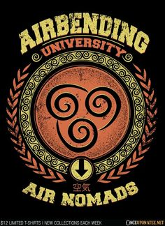 Airbending University by Typhoonic is available at Once Upon a Tee until 3/30. Apparel and accessories starting at $12!