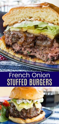 French Onion Stuffed Hamburgers au Gratin - juicy cheeseburgers stuffed with caramelized onions make this an epic recipe nobody can resist. Delicious on a toasted bun, but so hearty you can just eat these burgers with a fork and knife for a keto-friendly, gluten free option. Grilling Recipes, Beef Recipes, Vegetarian Recipes, Cooking Recipes, Healthy Recipes, Hamburger Recipes, Vegetarian Cooking, Healthy Meals, Cooking Tips
