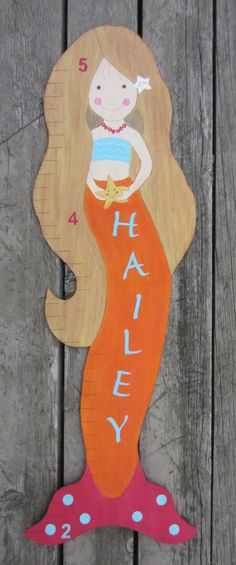 MERMAID Custom Growth Chart Hand Painted Wood by BirchTreeKids Growth Chart Wood, Growth Charts, Painted Wood, Hand Painted, Mermaid Kids, Getting Ready For Baby, Baby Nursery Themes, Switch Plate Covers, Wreath Ideas