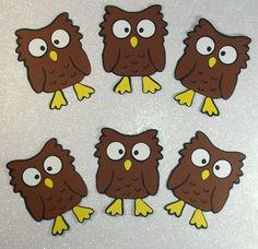 "CUT 4"" BROWN OWLS (6PCS)    e-33 scrapbooking cricut die cuts disney"