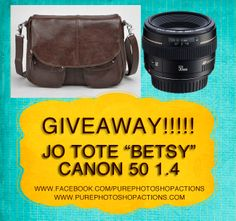 Enter to win a new camera bag AND a canon 50mm 1.4 lens!