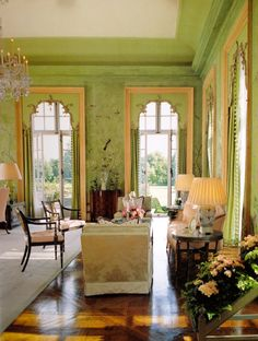 Green Room at Winfield House with 18th century chinoiserie wallpaper, Decorated by William Haines 1969