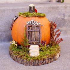 SALE Pumpkin Fairy House, Fall Fairy Home on wood slab with moss.Day A pumpkin fairy cottage Halloween Fairy, Halloween Window, Halloween Displays, Halloween Pumpkins, Fall Halloween, Halloween Decorations, Pumpkin Decorating Contest, Pumpkin Contest, Pumpkin Fairy House