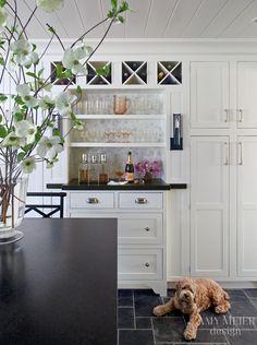 Benjamin Moore Mountain Peak white cabinets; honed black granite counters; slate floor