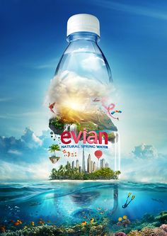Evian on Behance Creative Poster Design, Ads Creative, Creative Posters, Creative Advertising, Advertising Design, Product Advertising, Guerilla Marketing, Ad Design, Graphic Design