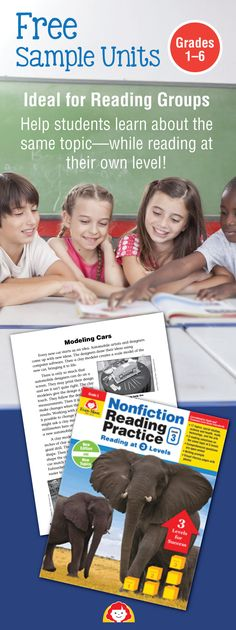 Get a complete nonfiction reading unit for grades 1–6. Each unit includes reading selections, comprehension questions, and a words to know list--for 3 levels. A writing prompt is also included. This resource is ideal for reading groups and to accommodate the varied levels of readers in your class. Visit Evan-Moor to preview this NEW reading comprehension resource! www.evan-moor.com