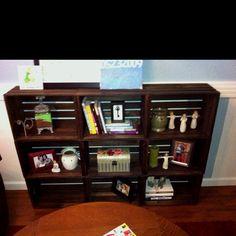 Wood crate book shelf. Love it!