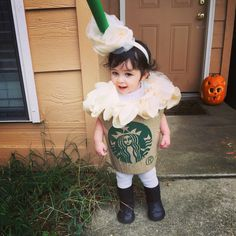 Homemade baby Starbucks Frap costume! Halloween 2015