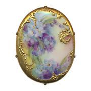 SOLD Pretty Victorian Porcelain Painted Floral Pin - Gilded