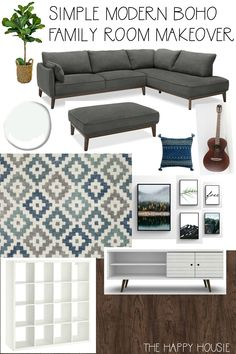 One Room Challenge Week 6/7: Modern Boho Furniture, Rug & Art Choices | The Happy Housie | Modern eclectic basement den makeover in white, blue and beige for a flexible comfortable family space. #bohochic #midcentury