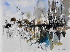 warercolor christmas cards | Abstract Watercolor 012130 Greeting Card by Pol Ledent