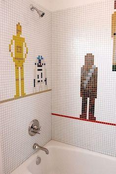 Decoracion Star Wars, Star Wars Bathroom, Deco Disney, Bathroom Kids, Bathroom Tiling, Kids Bath, Fancy Bathrooms, Lego Bathroom, Master Bathroom