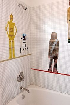 This Star Wars shower mosaic was dreamed up for a Los Angeles-based client by architect and designer Emily Jagoda. http://sulia.com/my_thoughts/9ed616fc-9c40-4165-be8f-2cc3a958b938/?source=pin&action=share&btn=small&form_factor=desktop&pinner=125502693