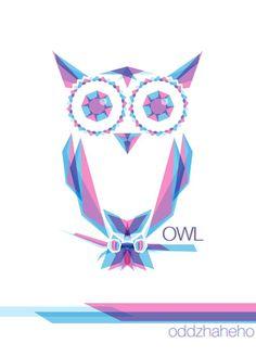 owl cyan magenta by oddzoddy on DeviantArt Of Brand, Magenta, Branding Design, Owl, Deviantart, Artwork, Work Of Art, Owls, Brand Design