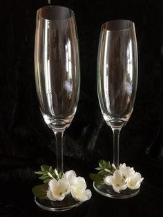 Wedding toasting flutes, champagne glasses , wedding gift, bridal shower and engagement gift Wedding Toasting Glasses, Toasting Flutes, Champagne Glasses, Crystal Champagne, Wedding Champagne, Bride And Groom Glasses, Best Wedding Speeches, Decorated Wine Glasses, Unique Bridal Shower
