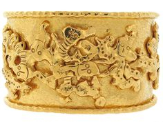 Jean Mahie Charming Monsters Cuff in 22K from Beladora.com Antique and Estate Jewelry