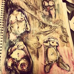 Jenny saville artist page development in sketchbook