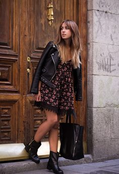 floral dress and boots Have Fun with Autumn Floral Prints