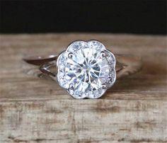 14K White Gold  1.0ct C&C Moissanite Engagement Ring Floral Halo Diamonds Forever Brilliant 6.5mm Round Cut Moissanite Ring Plain Ring Band by DesignByAndre on Etsy