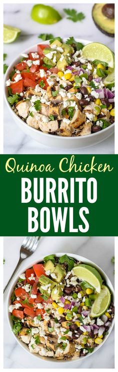 Better than Chipotle Burrito Bowls with Quinoa and Chicken from @WellPlated. So easy, so delicious and so much better! #glutenfree Make it vegetarian by leaving out the chicken.