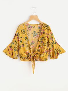 Shop Flute Sleeve Floral Print Random Knot Open Front Top at ROMWE, discover more fashion styles online. Shirts & Tops, Crop Top Shirts, Boho Outfits, Casual Outfits, Cute Outfits, Fashion Outfits, Modest Fashion, Girl Fashion, Womens Fashion