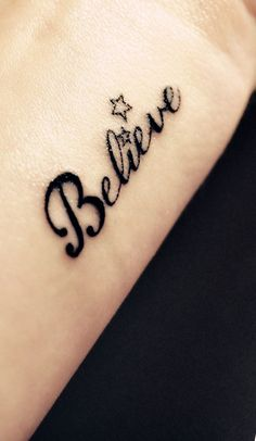 words tattoo: Belive http://www.wonderfulsnapbackswholesale.com/