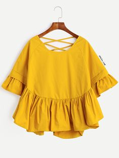 Yellow Lattice-Back Ruffle Sleeve Blouse