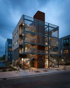 Local firm Salmela Architect has completed an office building for a Minneapolis advertising agency that is fronted by an intricate metal fire escape that runs all the way up to a rooftop terrace.