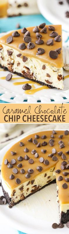 Caramel Chocolate Chip Cheesecake! Thick and creamy cheesecake studded with chocolate chips and topped with caramel sauce! So good!