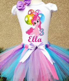 Pinkie Pie My Little Pony Personalized Birthday Tshirt, with option to add on Tutu, and Detachable Shoulder Bow