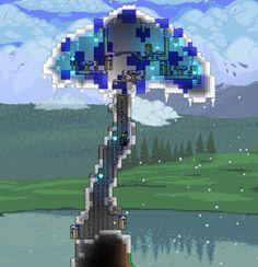 Mushroom House made with weird blocks : Terraria