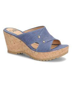 Look what I found on #zulily! Denim Blue Bamboo Sancia Leather Wedge #zulilyfinds