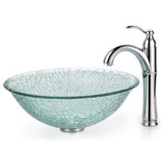 Kraus C-GV-950-12mm-1005 Broken Glass Vessel Sink and Riviera Faucet ❤ liked on Polyvore featuring home, home improvement, plumbing, bath and bathroom
