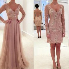New convertible dusty pink prom dress, party dress online for teens, fs5373