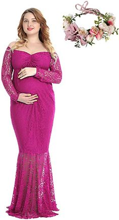 Includes flower crown Off Shoulder Long Sleeve Lace Maternity Gown Maxi Photography Dress (Rose Red, XX-Large) at Amazon Women's Clothing store: Thing 1, Maternity Gowns, Maternity Photography, Flower Crown, Dress Brands, Fashion Brands, Amazon, Formal Dresses, Shoulder