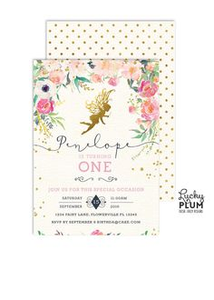 A gold garden fairy invitation surrounded by a field of wildflower blossoms. And no invite is complete without some fairy dust. Gold polka dot back page included. To find coordinating and matching items, visit our shop and type in the following in the search toolbar – FY01 **Please