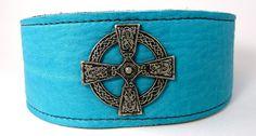 Celtic Cross Soft Turquoise Adjustable leather by LongDogLeather, $42.00