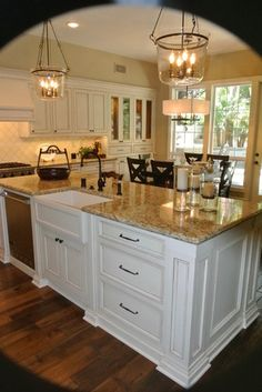 love the pendants-new port beach kitchen remodel - traditional - kitchen cabinets - orange county - lew sabo
