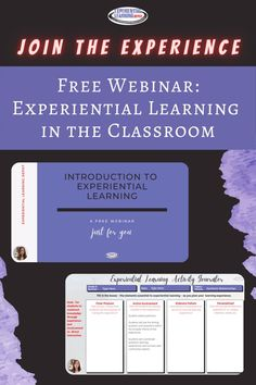 If you're interested in getting your love for teaching back, increasing engagement in your classroom, and a healthier work/life balance, experiential learning is for you. Check out this free video training that helps you transform any concept or topic into an experiential learning activity. This video is exclusive to members of Experiential Learning Community for K-12 Teachers, so get in there! Grab the video training and be a part of an incredible group of innovative educators… High School Activities, Learning Activities, Teacher Blogs, Teacher Resources, Experiential Learning, 21st Century Skills, Project Based Learning, Creative Teaching, Learning Environments