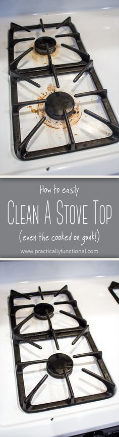 Learn how to clean a stove top with hydrogen peroxide and baking soda; even the cooked on gunk comes off with a little scrubbing!