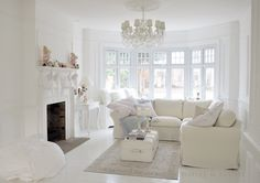 Pastels in white living