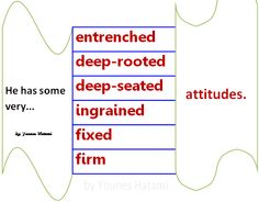 to have entrenched, deep-rooted, deep seated, ingrained, fixed, firm attitude.