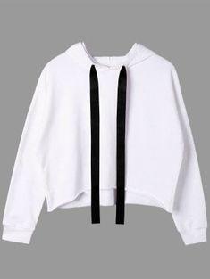 9381cfd48b0 Two Tone Drawstring Neck Cropped Hoodie - White Sweat Shirt
