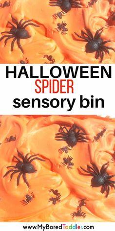 Halloween Shaving Cream and Spider Sensory Bin