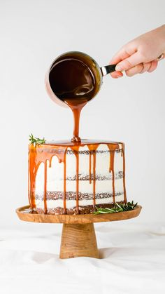 Layered Gingerbread Cake with Salted Caramel Sauce